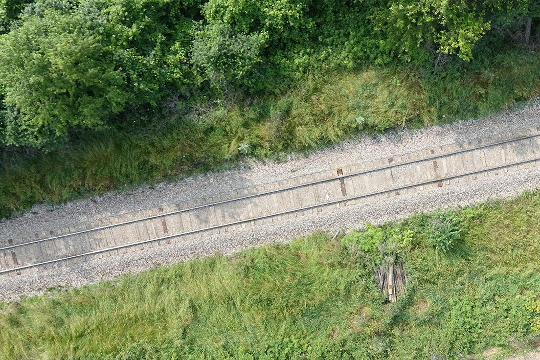 Image from drone of railway track