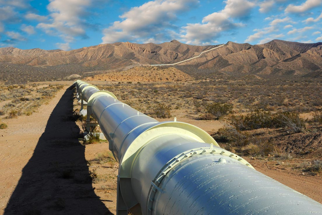 A natural gas pipeline in the Mojave desert