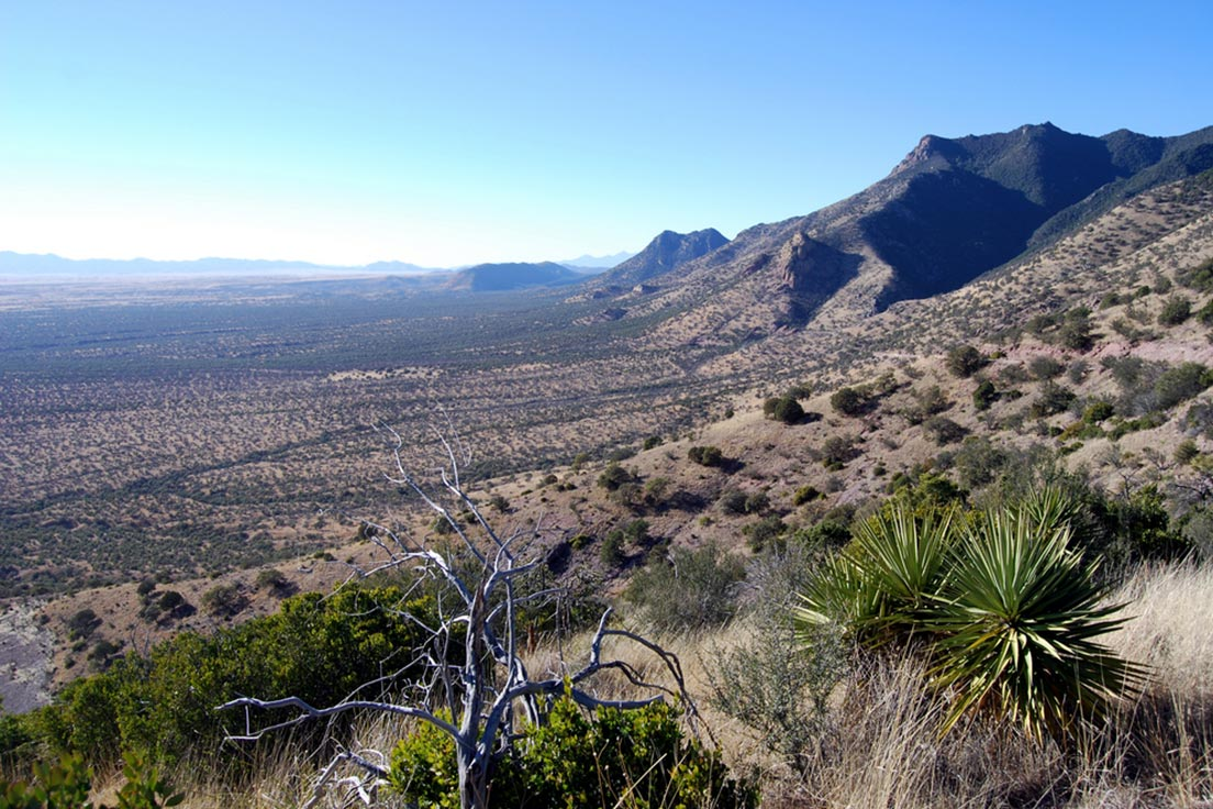 The valley below Millers Peak, Arizona - a common area for cross-border drug smuggling and illegal border crossings
