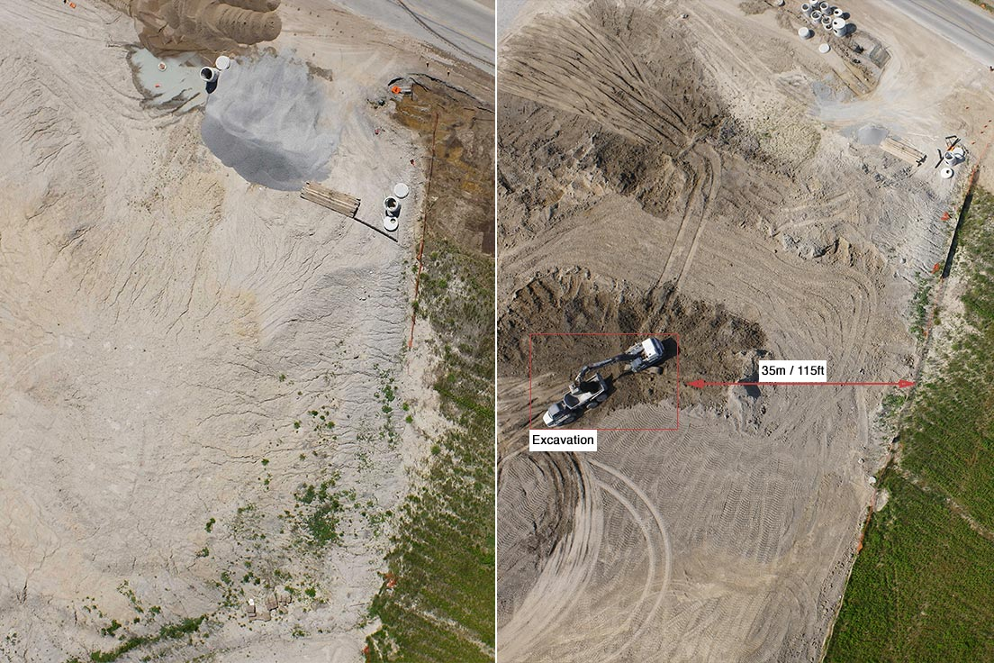 A comparison of ROW inspection images shows third-party excavation encroaching on the pipeline