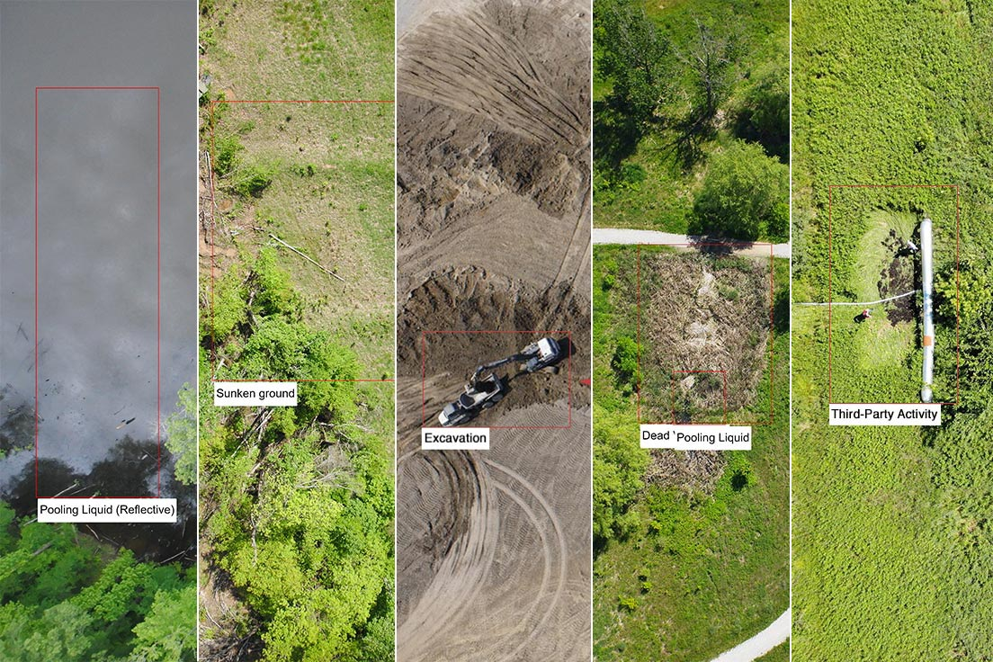 A collage of pipeline integrity issues that can affect a right-of-way